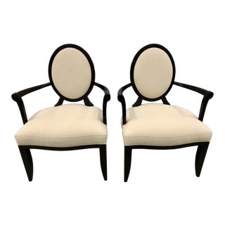 Transitional Barbara Barry for Baker Furniture Co. Oval X-Back Armed Dining Chairs - a Pair