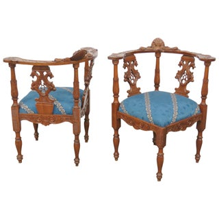 Carved Cherub Side Chairs - Pair For Sale