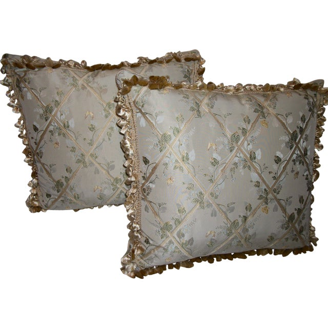 """Scalamandre """"Butterfly & Trellis"""" Pillows - A Pair For Sale"""