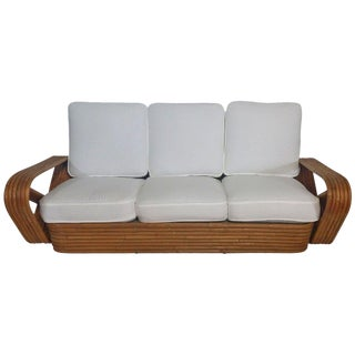 Restored 1930s Six-Strand Square Pretzel Sofa in the Manner of Paul Frankl For Sale