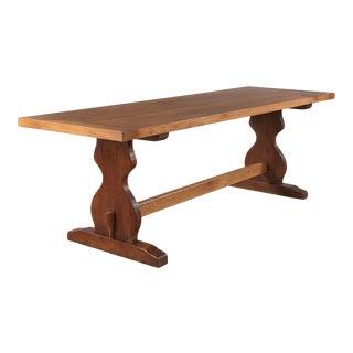 1940s French Golden Oak Trestle Table For Sale