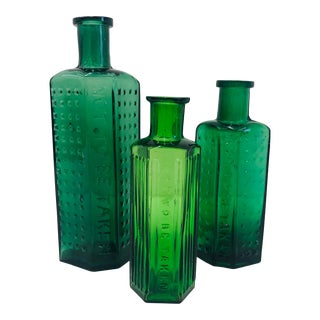 Set Antique Green Glass Poison Jars For Sale