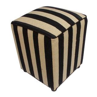 Arshs Deangelo Ivory/Black Kilim Upholstered Handmade Ottoman For Sale