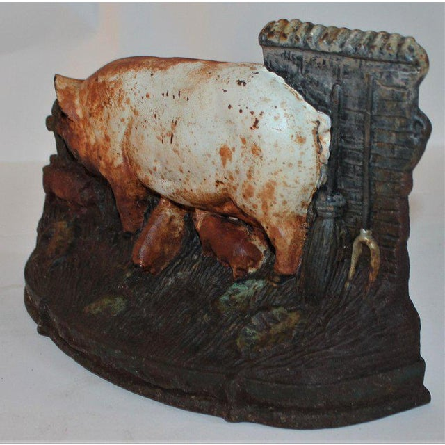 Late 19th Century 19th Century Original Painted Pig Door Stop For Sale - Image 5 of 9