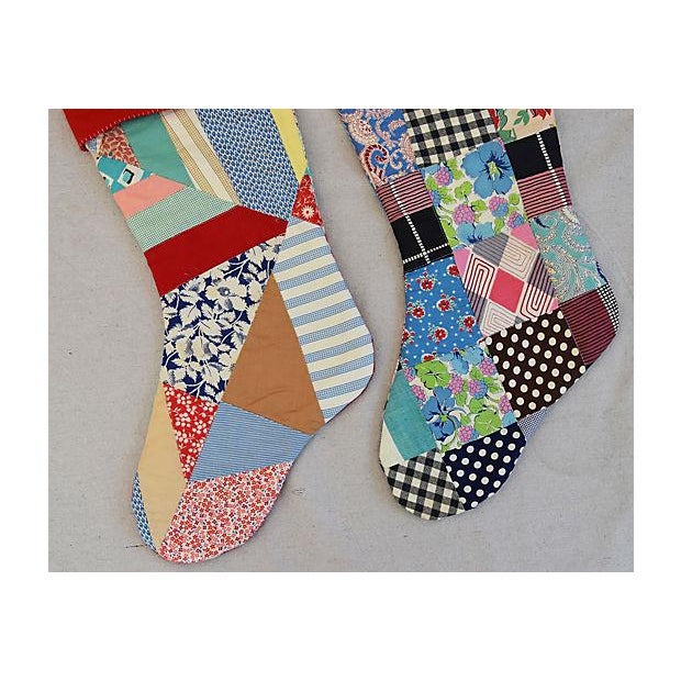"""Large 22"""" Custom Tailored Patchwork Quilt Christmas Stockings - Pair For Sale In Los Angeles - Image 6 of 8"""