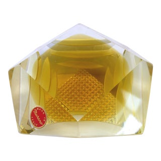 Murano Glass Brilliant Cut Diamond Shape Paperweight For Sale