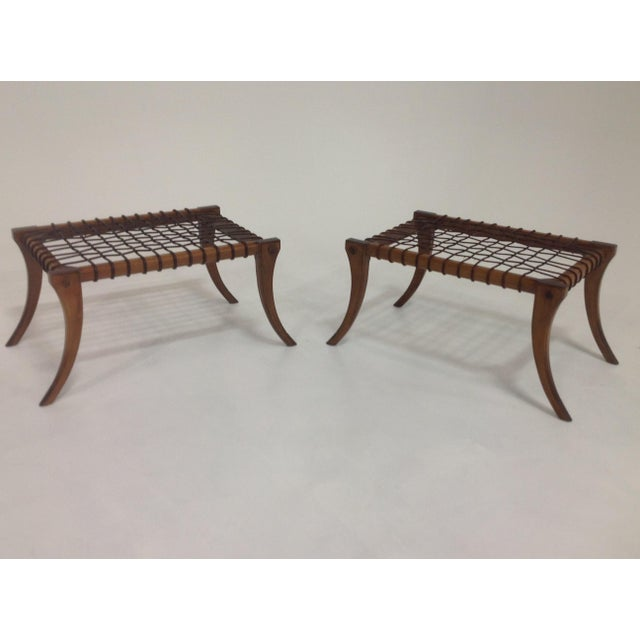 Animal Skin Klismos Mid-Century Style Walnut & Leather Ottomans - a Pair For Sale - Image 7 of 7