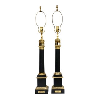 Pair of French Tole-Peinte and Brass Oil Lamps For Sale
