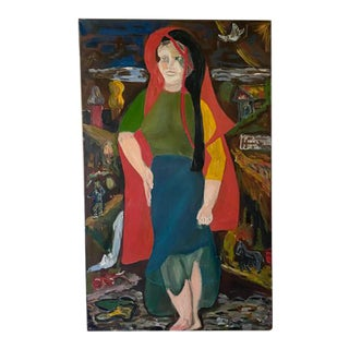 Oil on Canvas, Peasant Girl, Signed For Sale