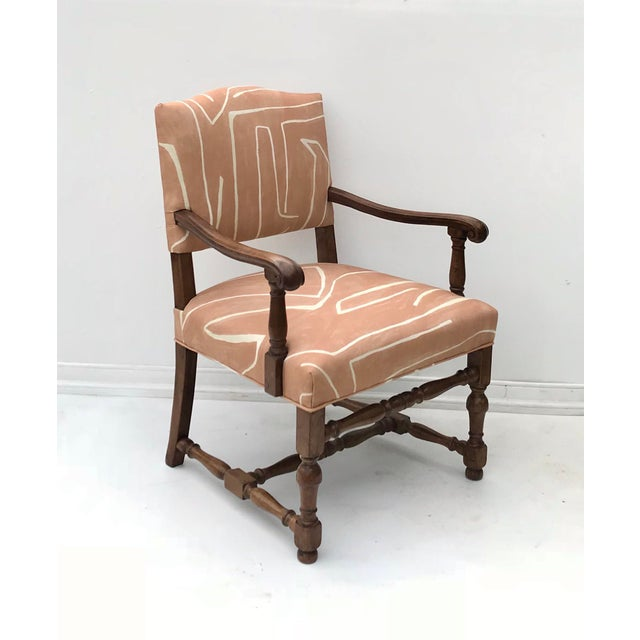 French Renaissance Revival Lounge Chair in Graffito Fabric For Sale - Image 4 of 12
