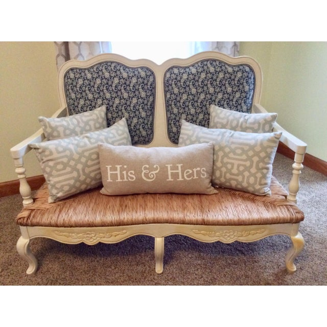 Stunning Antique Style White Country French Provential Settee with a beautiful Rush Seat and gorgeous blue paisley...