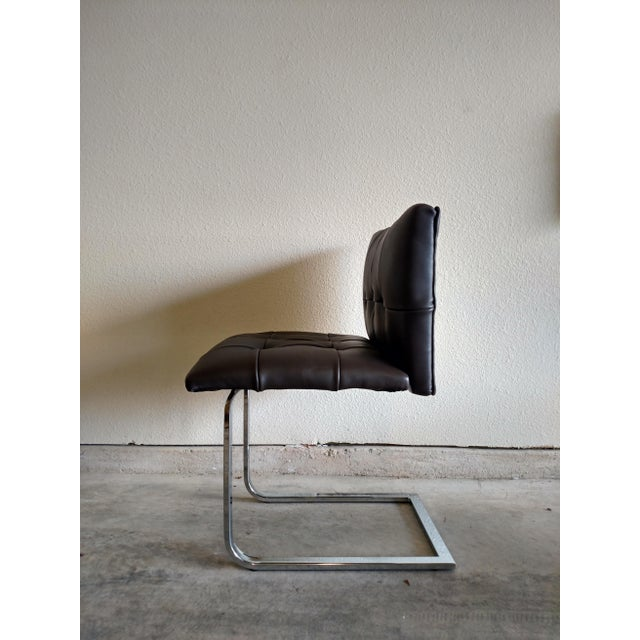 Tufted Dark Cowhide Leather Chair - Image 3 of 5