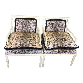 Vintage Faux Bamboo Leopard Chairs - a Pair For Sale