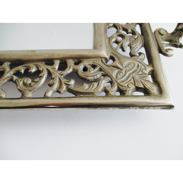 Vintage Ornate Silver Filigree & Mirrored Tray - Image 7 of 10