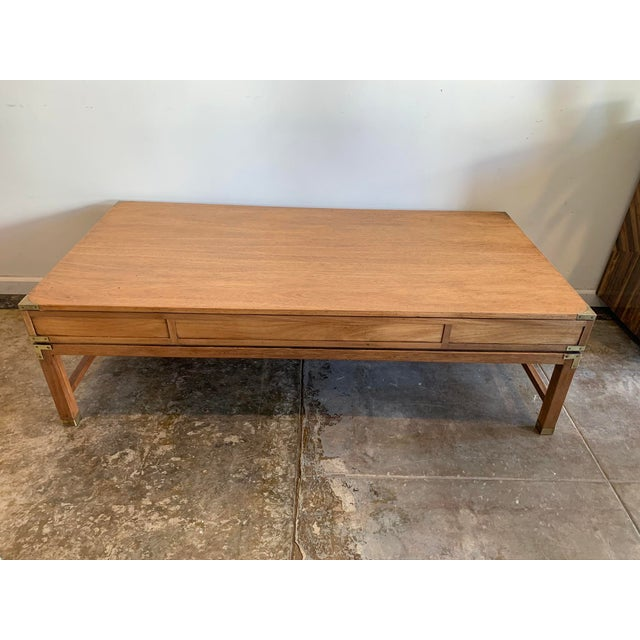 Campaign Style Wood Coffee Table W/Drawers For Sale In Los Angeles - Image 6 of 10