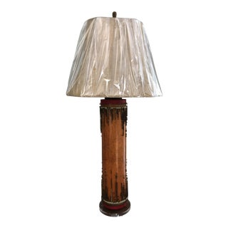 Vintage Wallpaper Roller Lamp W/ Shade For Sale