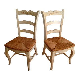 French Country Ladder Back Rush Seat Chairs - A Pair