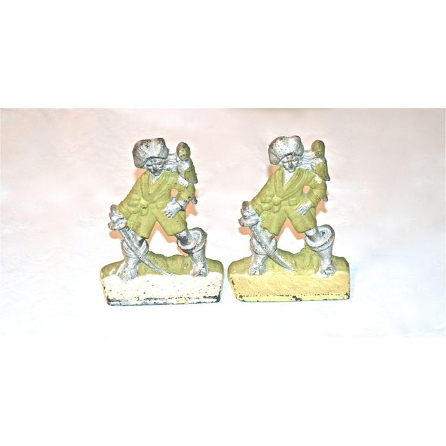 Figurative 1920s Pirates With Parrots Painted Bookends - A Pair For Sale - Image 3 of 10