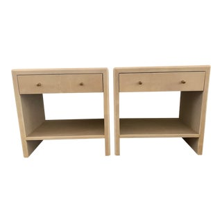 Polished Faux Vellum Nightstands - a Pair For Sale