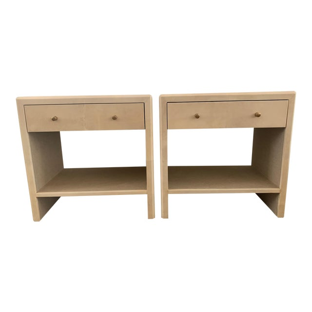 Polished Faux Vellum Nightstands From Made Goods - a Pair For Sale