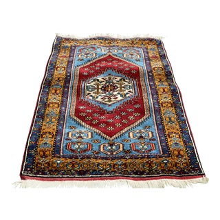 Turkish Vintage Hand Knotted Geometric Yahyalı Anatolian Rug 2.8 X 4.8 Ft For Sale