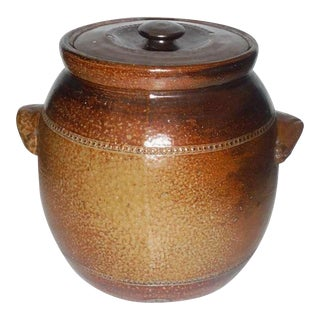 Monumental Salt Glazed Stone Ware Double Handled Bean Pot For Sale