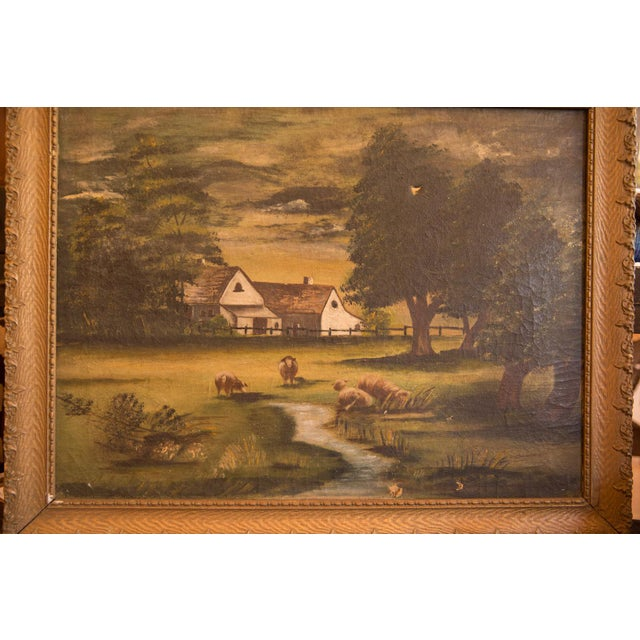 Green Sheep Grazing Antique Painting For Sale - Image 8 of 11