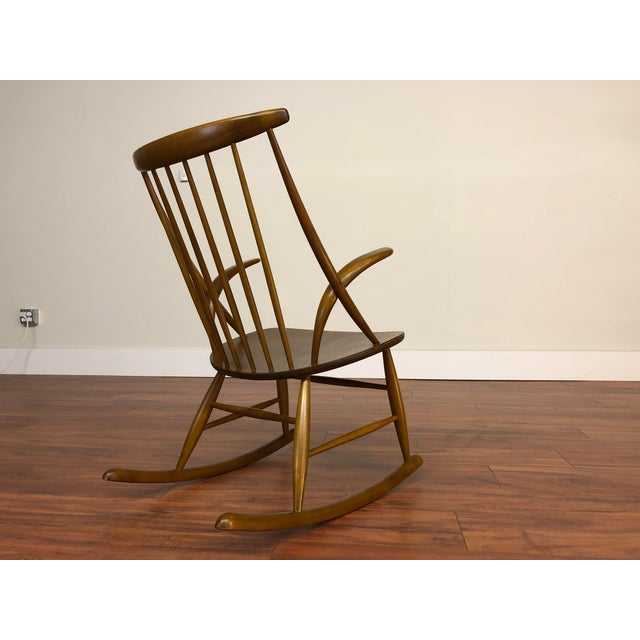 Mid-Century Modern Illum Wikkelso for Niels Eilersen Gyngestol Rocking Chair For Sale - Image 3 of 13