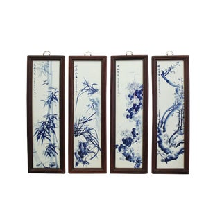 Chinese Blue White Porcelain Flower Birds Scenery Wall Panel Set For Sale