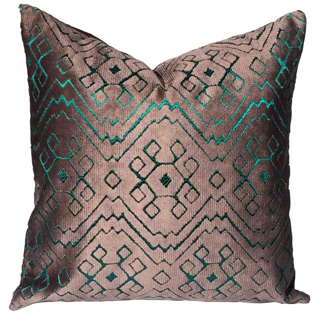 Custom Fortuny Velvet Double Sided Pillow Cover For Sale