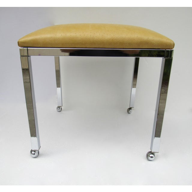 Americana Mid-Century Milo Baughman Chrome Bench With Chrome Castors For Sale - Image 3 of 13