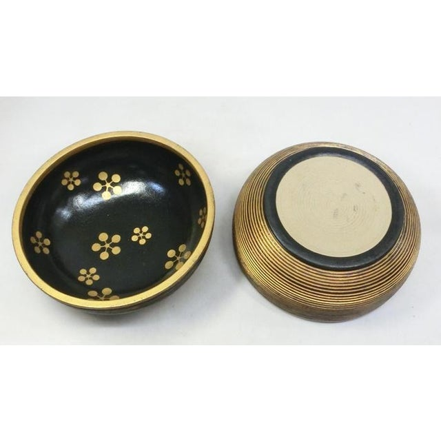 Japanese Ceramic Gilded Gold Black Lidded Container Dome Shape Art Deco Style Box Asian For Sale - Image 10 of 12