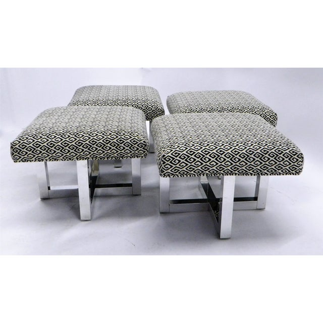Offered in pairs, from the 1960s, stools or benches very similar of the style Milo Baughman created. With polished...