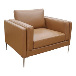 Contemporary Brown Leather Club Chair For Sale