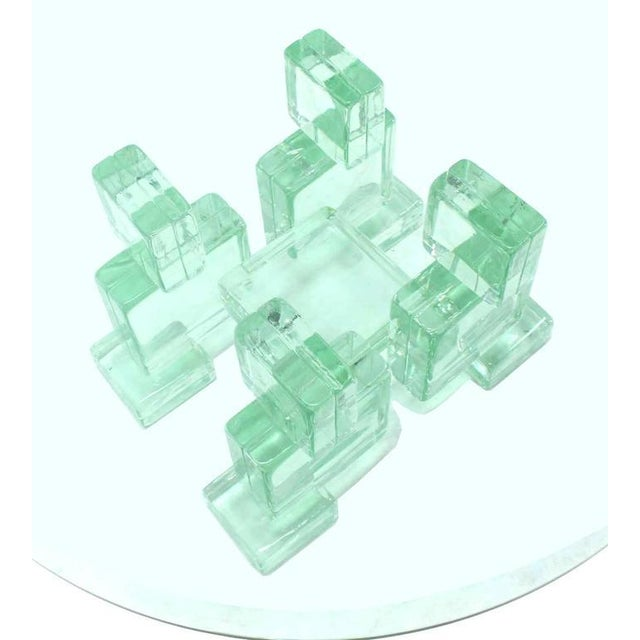 Very sculptural and unusual round Mid-Century Modern coffee table made out of glass blocks. Imperial Imagineering