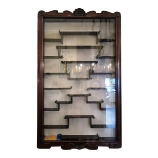 Antique Mahogany Netsuke Display Cabinet, 75 years old. For Sale