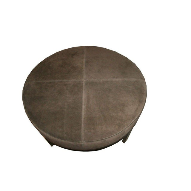 Brown Customizable Haller Walnut Base Round Ottoman For Sale - Image 8 of 8