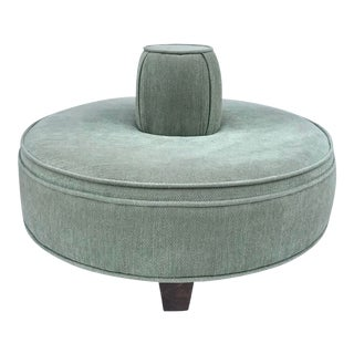 Vintage Mid Century Upholstered Round Borne Settee For Sale