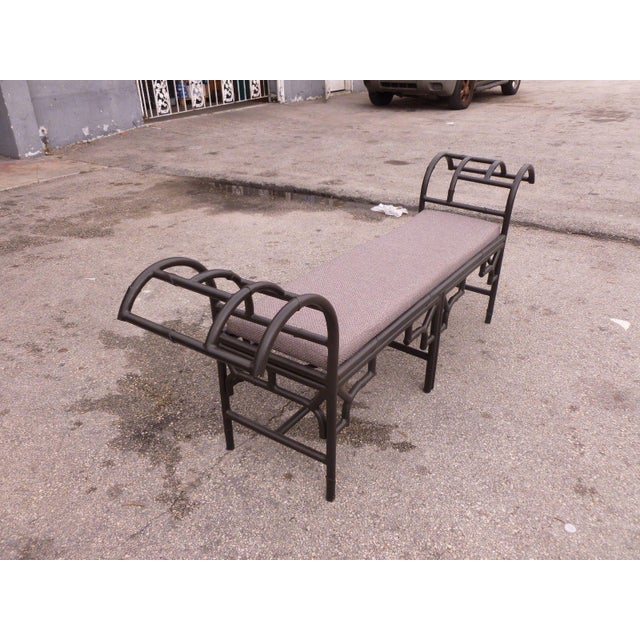 1990s 1990's Vintage Post Modern Chinese Chippendale Metal Bench For Sale - Image 5 of 12