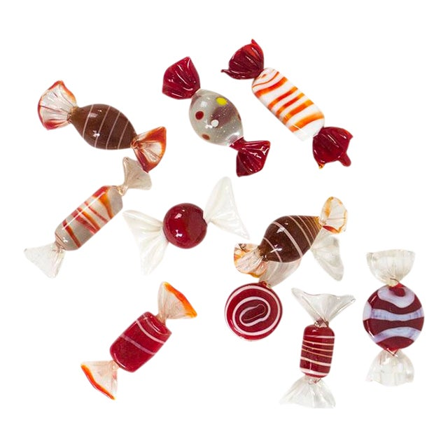 Murano Art Glass Candy Pieces - 10 Count For Sale