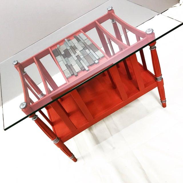 Magazine Rack Glass Top Coffee Table - Image 2 of 9