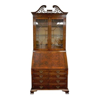 "103"" Tall Mahogany & Yew Wood Chippendale Style Computer Secretary Desk Vintage For Sale"