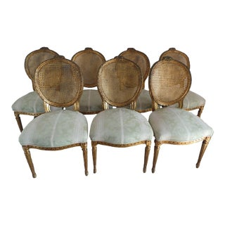 Vintage Dining Chairs With Gold Leaf Finish - Set of 7