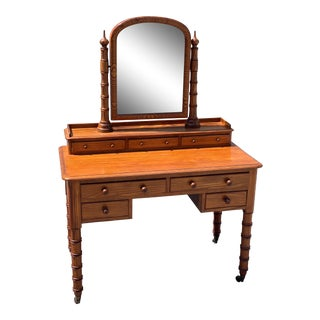 Late 19th Century English Pine Faux Bamboo Dressing Table For Sale