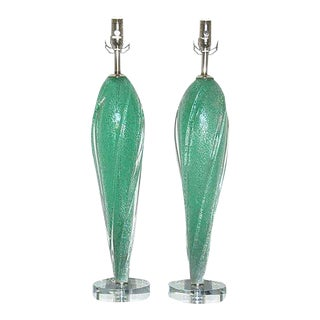 Pulegoso Murano Wing Lamps in Green For Sale