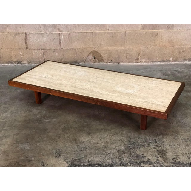 -MANUFACTURE: Custom -IN THE STYLE OF: Mid-Century Modern -DATE OF MANUFACTURE: 1960'S -MATERIALS TOP: Travertine...