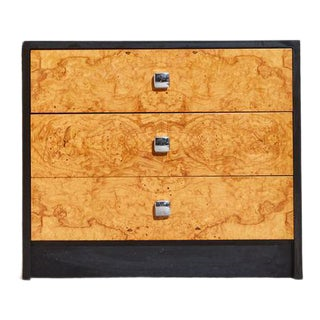 Burl and Black Laminate Chest of Drawers For Sale