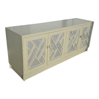 White Faux Bamboo Chinese Chippendale Credenza Buffet Dresser