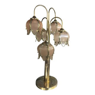 1960s Mid-Century Modern Chrome and Stained Glass Shade Table Lamp For Sale