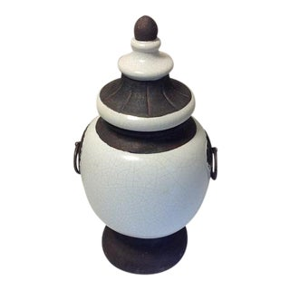 White & Brown Footed Urn With Lid